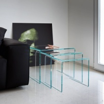 Move Modern Bent Glass Nest of 3 Tables
